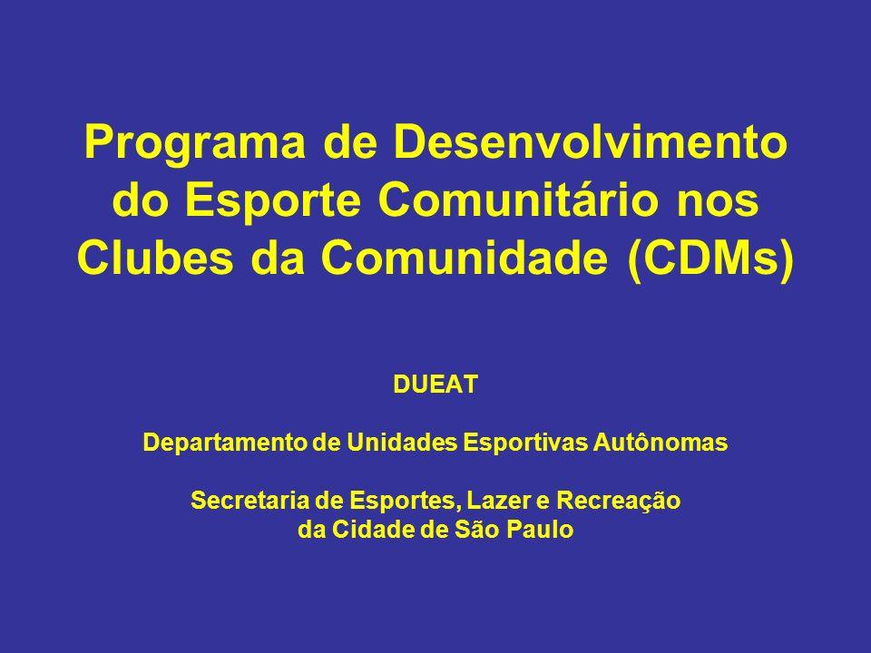 Programa de Desenvolvimento do Esporte Comunitário nos Clubes da Comunidade (CDMs)