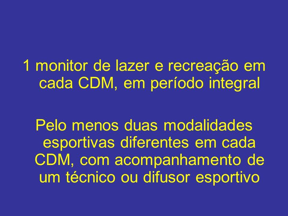 1 monitor de lazer e recreação em cada CDM, em período integral
