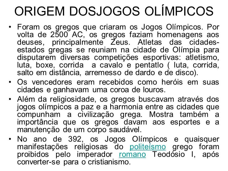 ORIGEM DOSJOGOS OLÍMPICOS