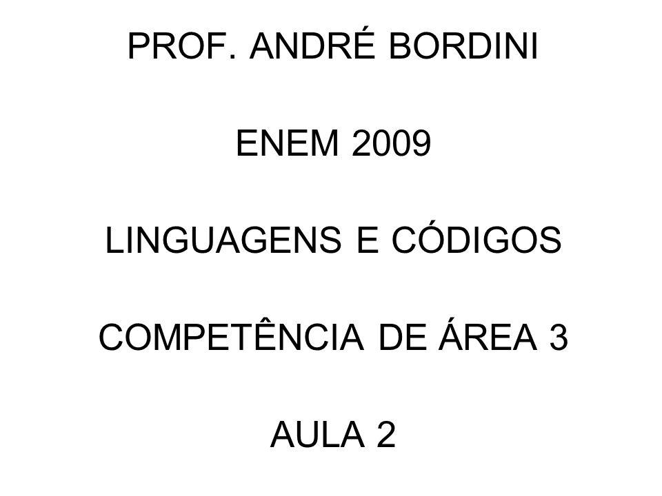 PROF. ANDRÉ BORDINI ENEM 2009 LINGUAGENS E CÓDIGOS COMPETÊNCIA DE ÁREA 3 AULA 2