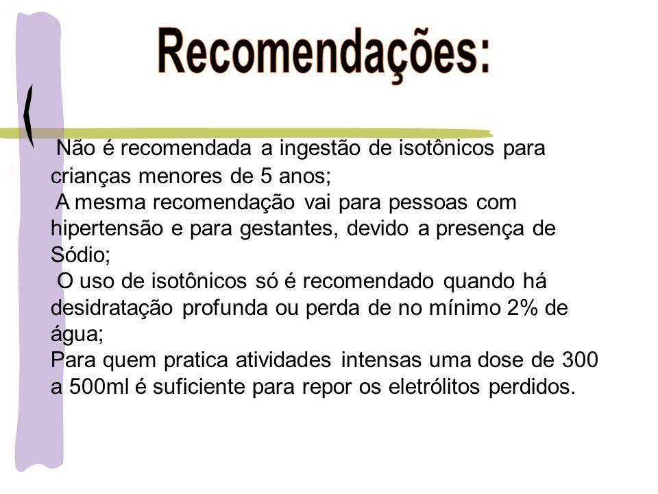 Recomendações: Não é recomendada a ingestão de isotônicos para crianças menores de 5 anos;