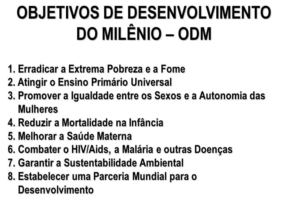 OBJETIVOS DE DESENVOLVIMENTO DO MILÊNIO – ODM