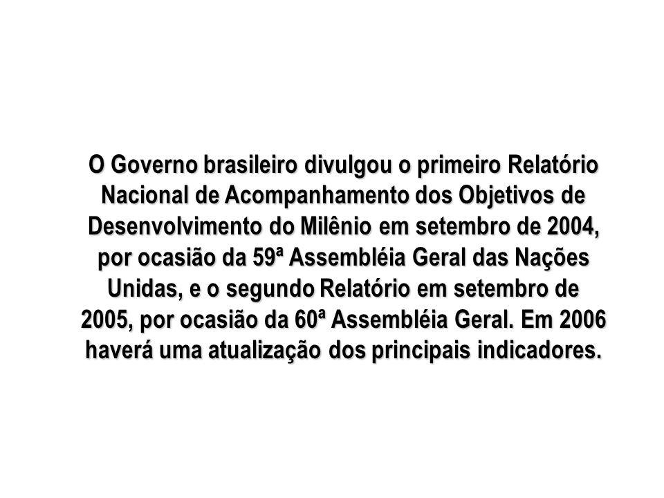 O Governo brasileiro divulgou o primeiro Relatório Nacional de Acompanhamento dos Objetivos de Desenvolvimento do Milênio em setembro de 2004, por ocasião da 59ª Assembléia Geral das Nações Unidas, e o segundo Relatório em setembro de 2005, por ocasião da 60ª Assembléia Geral.