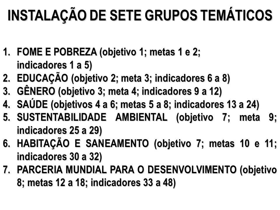 INSTALAÇÃO DE SETE GRUPOS TEMÁTICOS