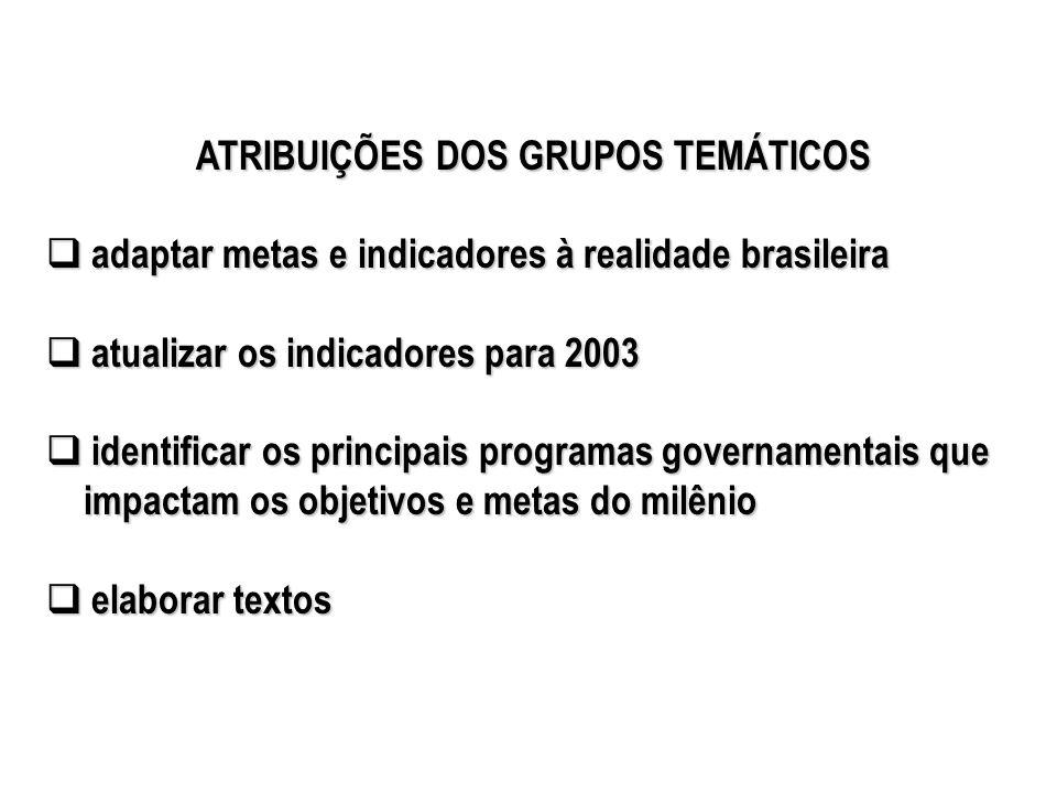 ATRIBUIÇÕES DOS GRUPOS TEMÁTICOS