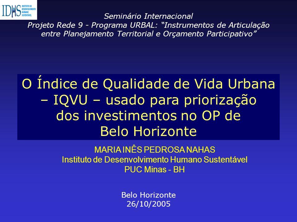O Índice de Qualidade de Vida Urbana – IQVU – usado para priorização