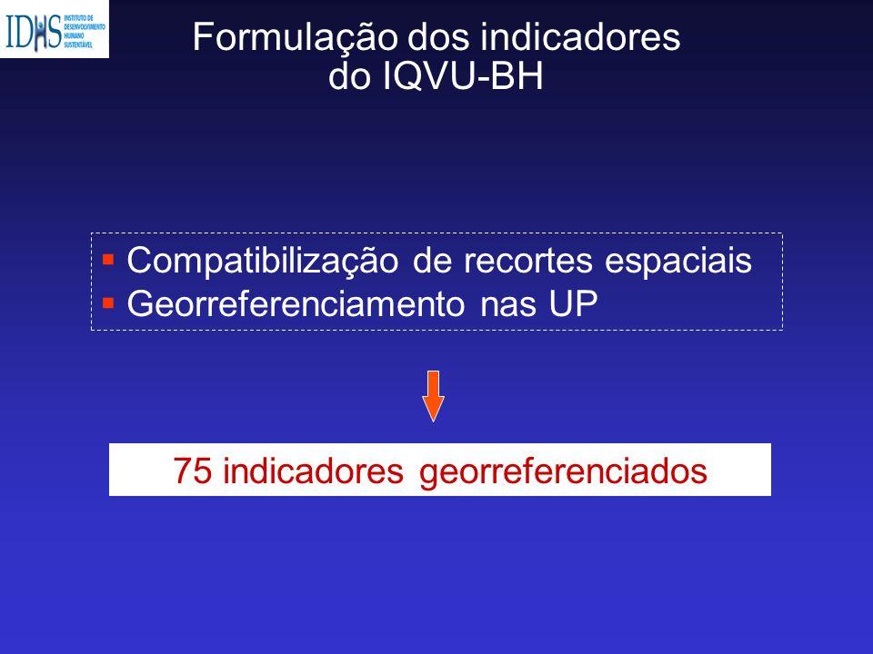 Formulação dos indicadores do IQVU-BH