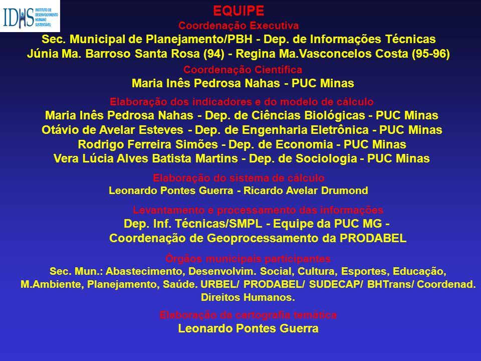 EQUIPE Coordenação Executiva. Sec. Municipal de Planejamento/PBH - Dep. de Informações Técnicas.