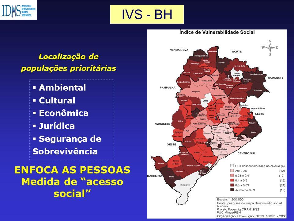Localização de populações prioritárias Medida de acesso social