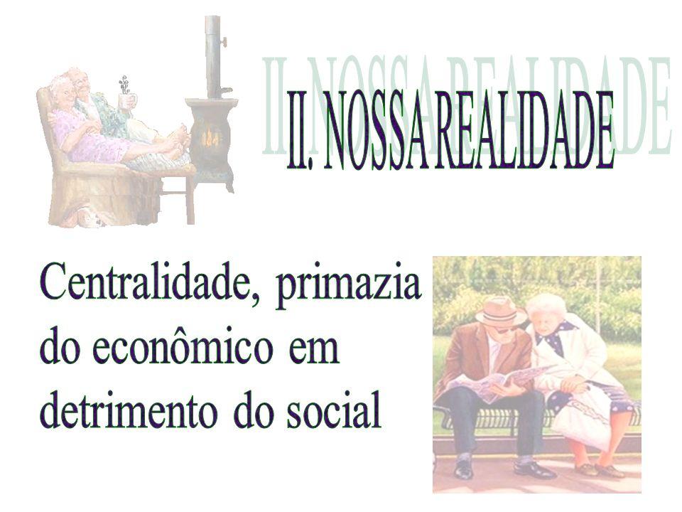 II. NOSSA REALIDADE Centralidade, primazia do econômico em detrimento do social