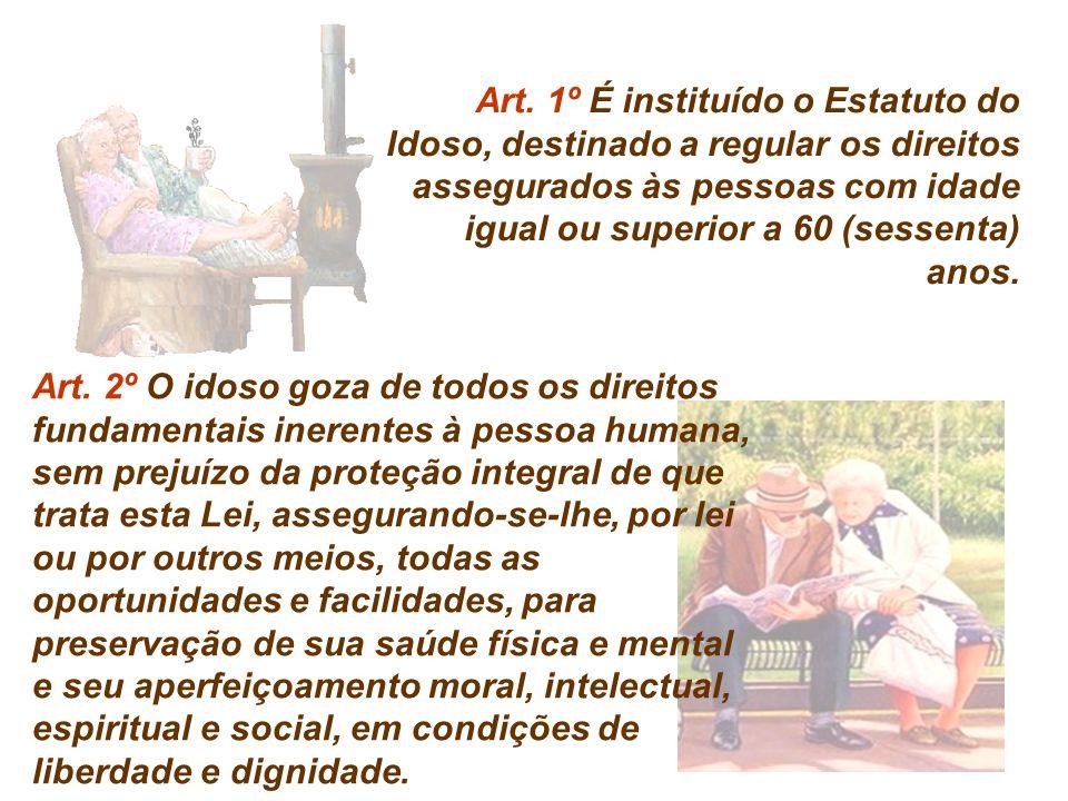 Art. 1º É instituído o Estatuto do Idoso, destinado a regular os direitos assegurados às pessoas com idade igual ou superior a 60 (sessenta) anos.