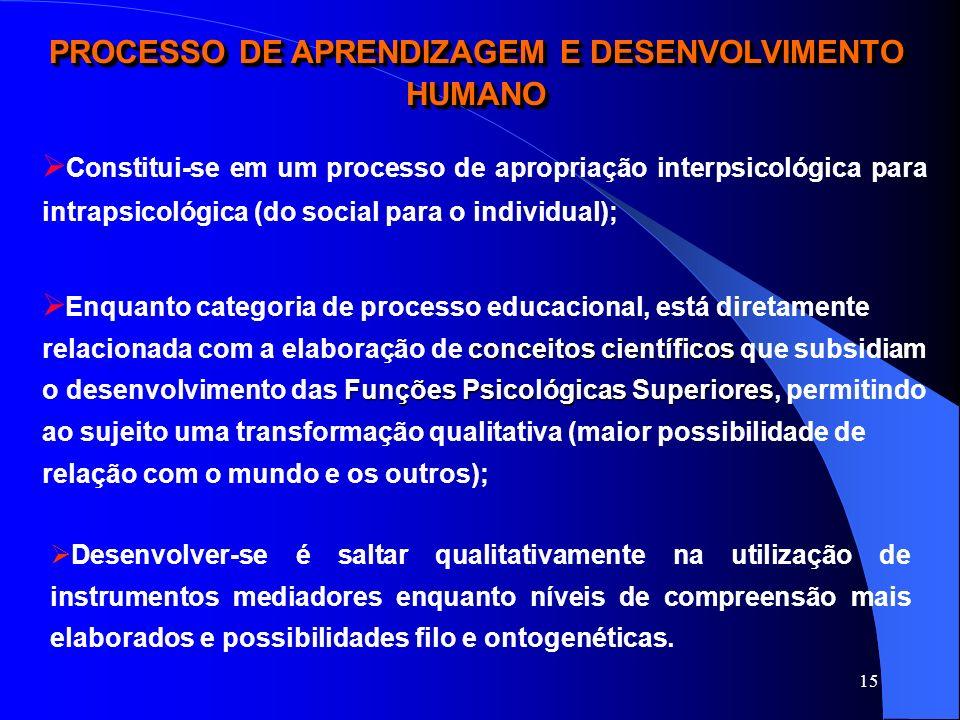PROCESSO DE APRENDIZAGEM E DESENVOLVIMENTO HUMANO