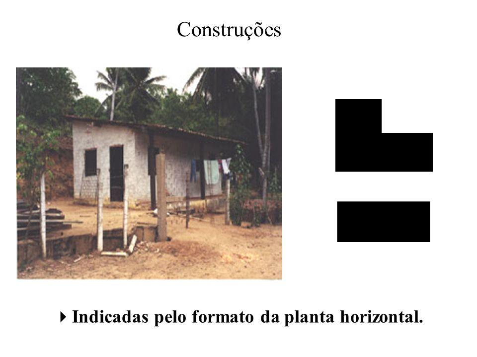 Indicadas pelo formato da planta horizontal.