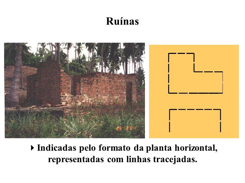 Ruínas Indicadas pelo formato da planta horizontal, representadas com linhas tracejadas.