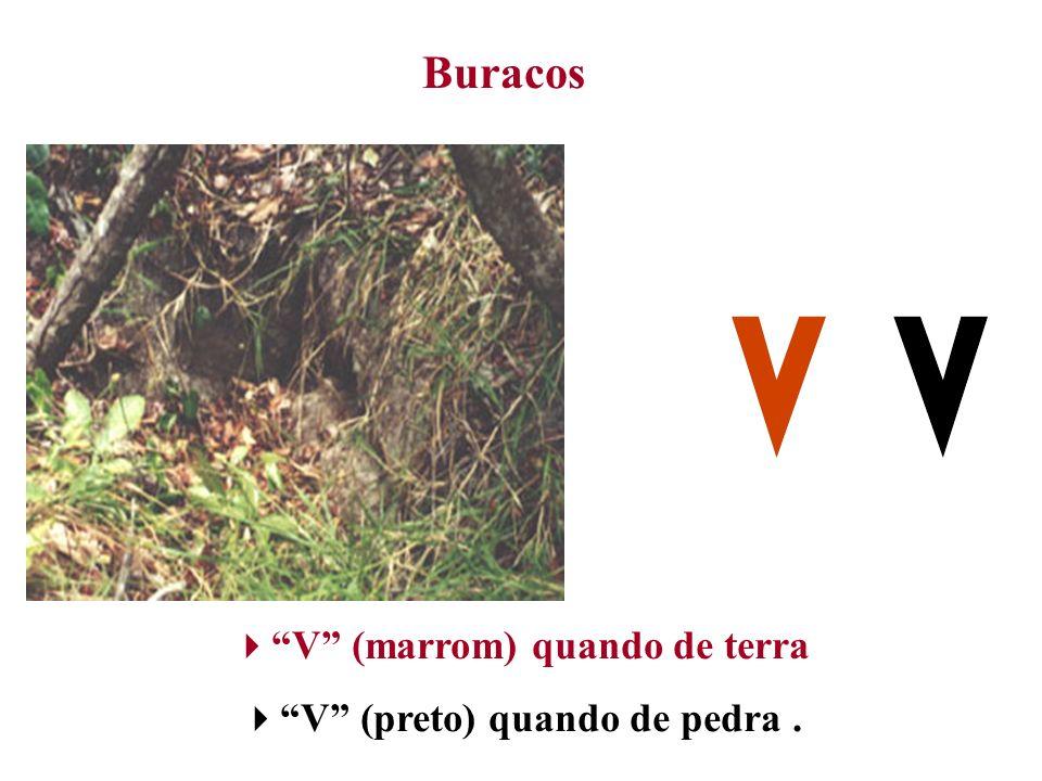 V (marrom) quando de terra V (preto) quando de pedra .