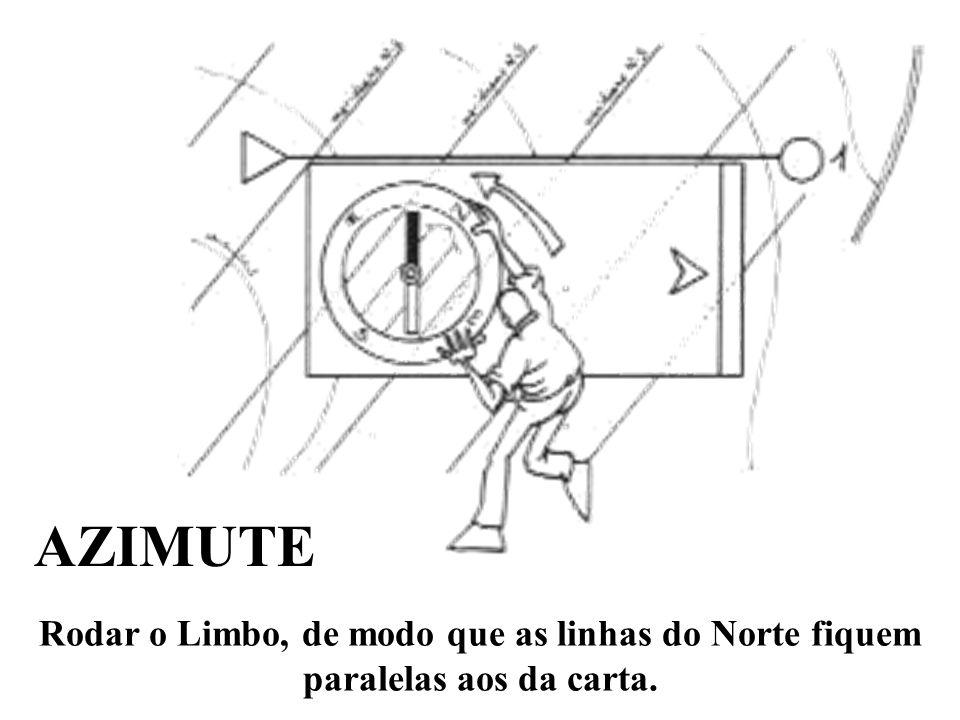 AZIMUTE Rodar o Limbo, de modo que as linhas do Norte fiquem paralelas aos da carta.
