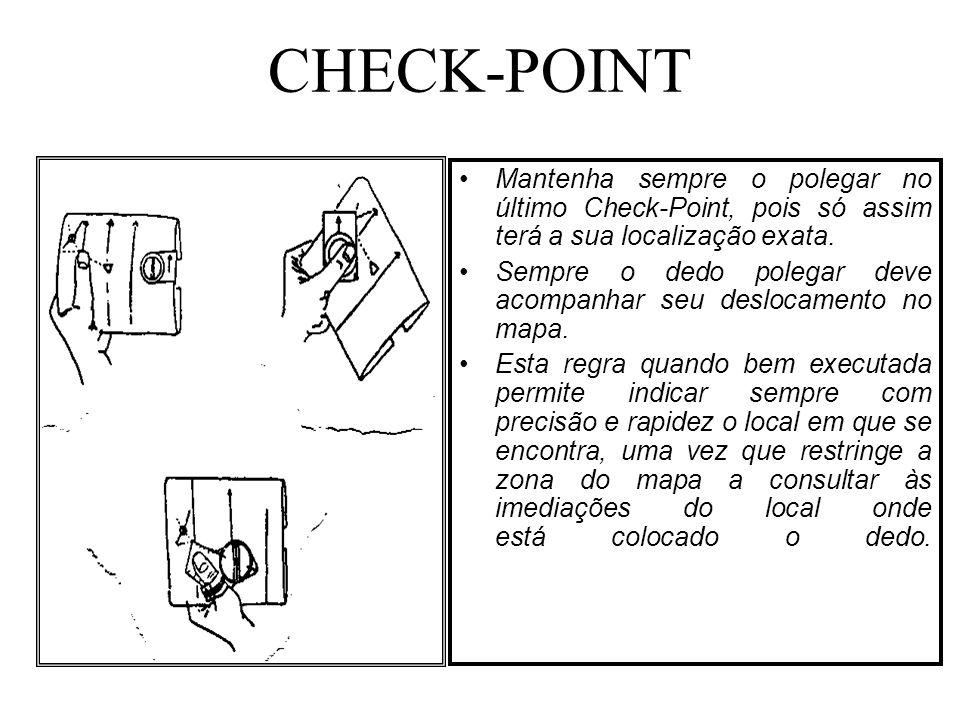 CHECK-POINT Mantenha sempre o polegar no último Check-Point, pois só assim terá a sua localização exata.