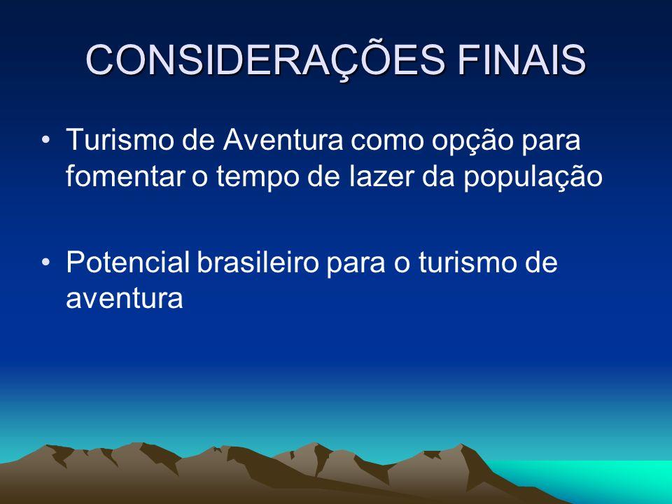 CONSIDERAÇÕES FINAIS Turismo de Aventura como opção para fomentar o tempo de lazer da população.