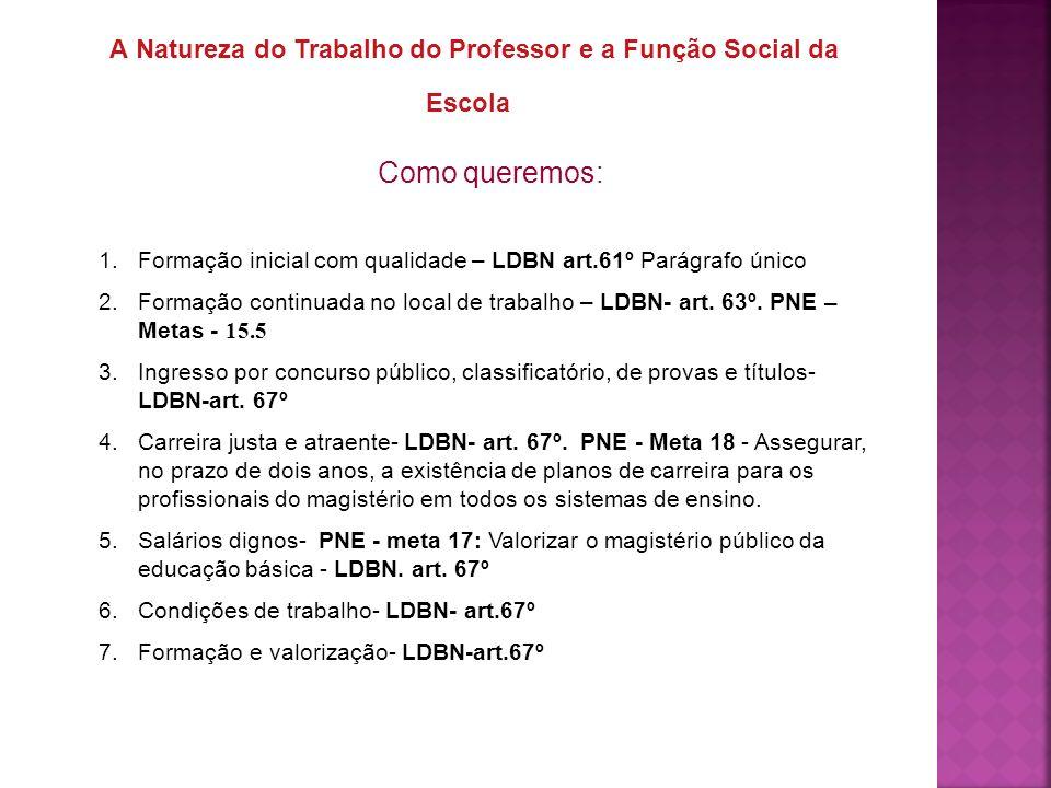 A Natureza do Trabalho do Professor e a Função Social da Escola