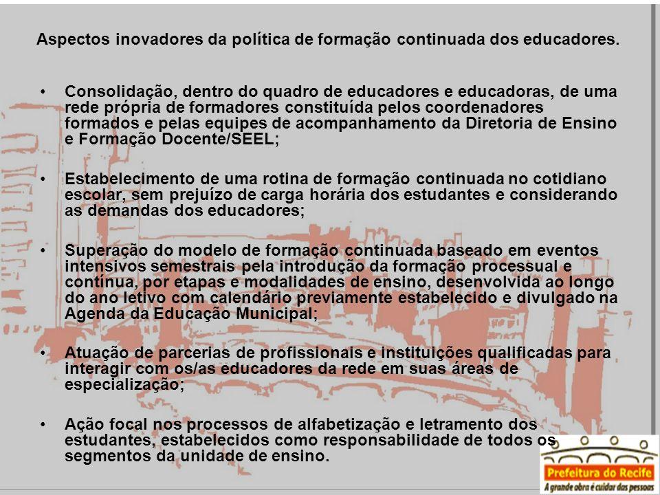 Aspectos inovadores da política de formação continuada dos educadores.