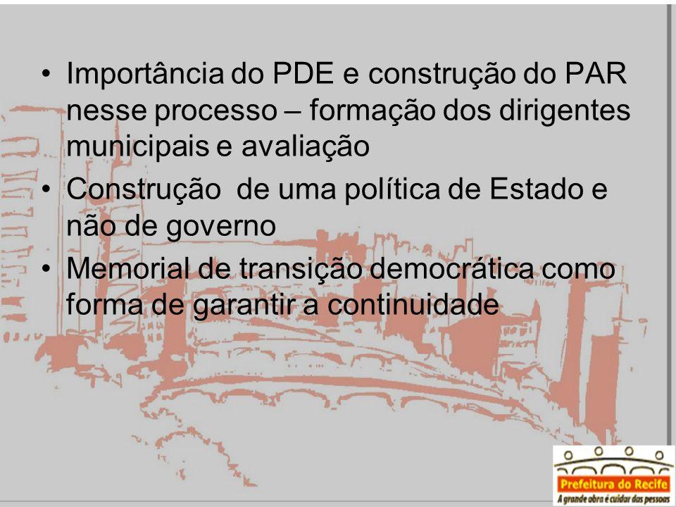 Importância do PDE e construção do PAR nesse processo – formação dos dirigentes municipais e avaliação