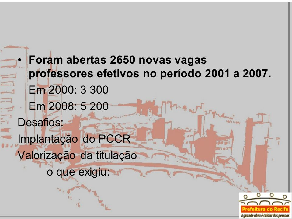 Foram abertas 2650 novas vagas professores efetivos no período 2001 a 2007.