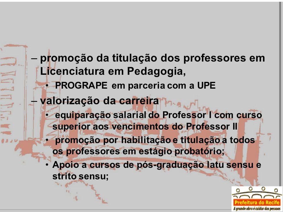 promoção da titulação dos professores em Licenciatura em Pedagogia,