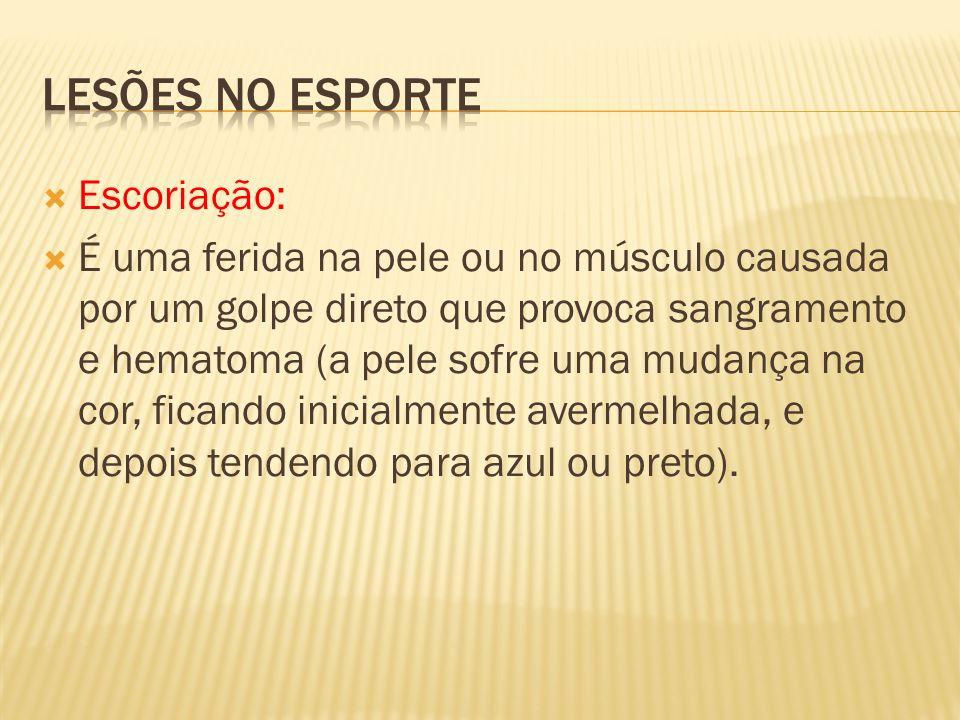 Lesões no esporte Escoriação: