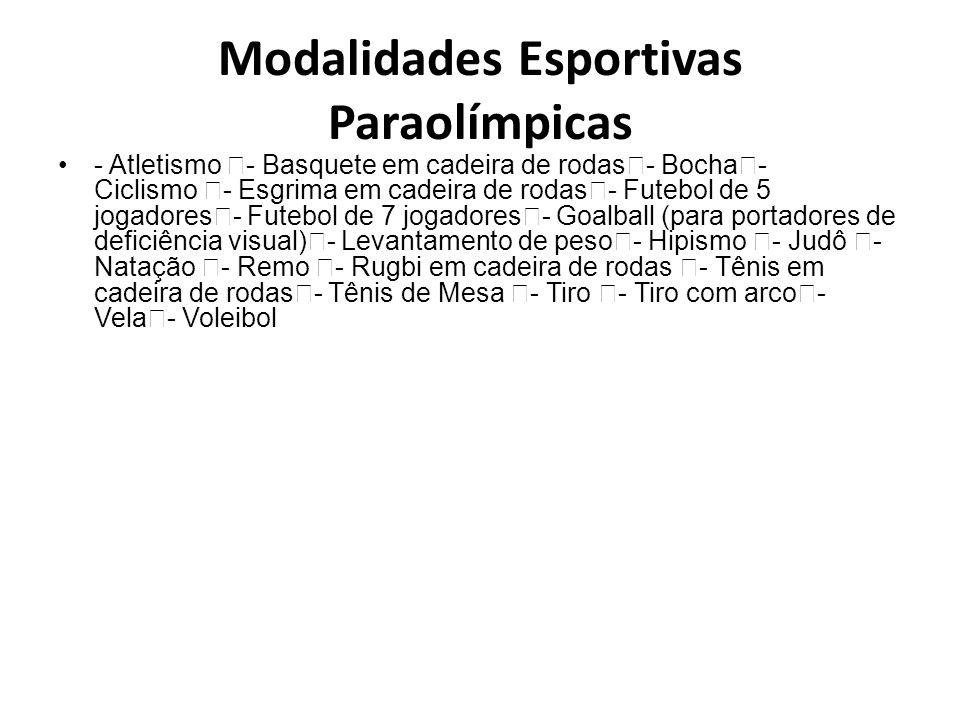 Modalidades Esportivas Paraolímpicas