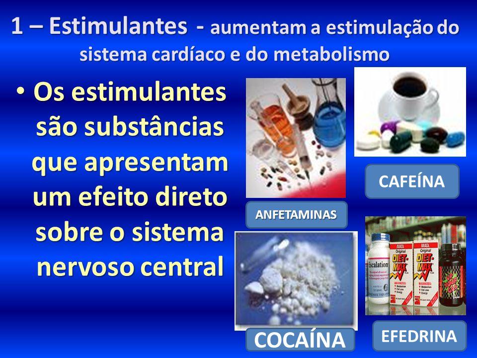 1 – Estimulantes - aumentam a estimulação do sistema cardíaco e do metabolismo