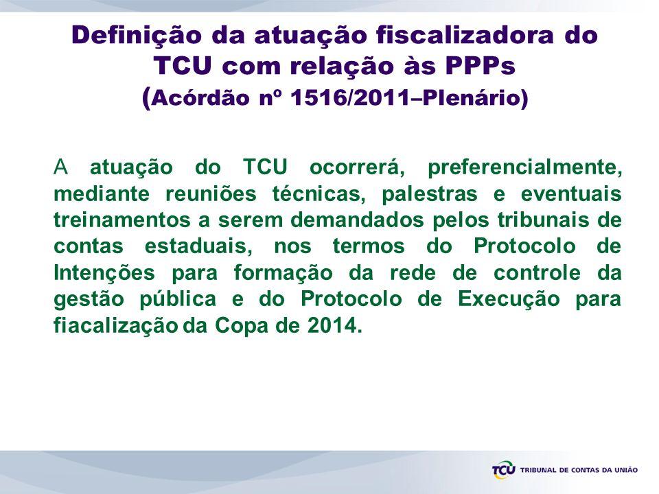Definição da atuação fiscalizadora do TCU com relação às PPPs (Acórdão nº 1516/2011–Plenário)