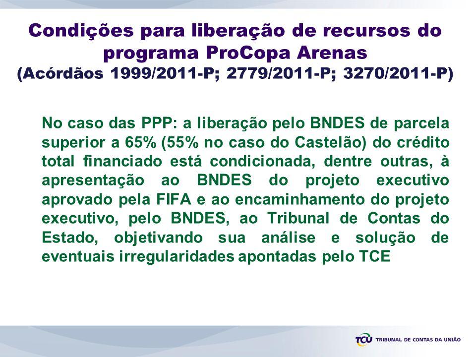 Condições para liberação de recursos do programa ProCopa Arenas (Acórdãos 1999/2011-P; 2779/2011-P; 3270/2011-P)