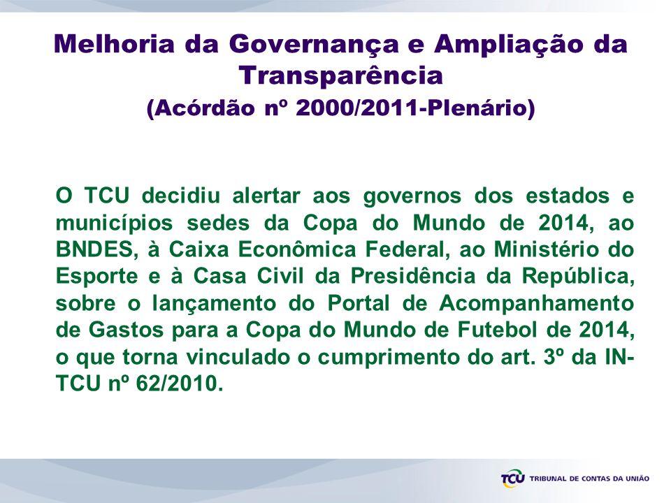 Melhoria da Governança e Ampliação da Transparência (Acórdão nº 2000/2011-Plenário)
