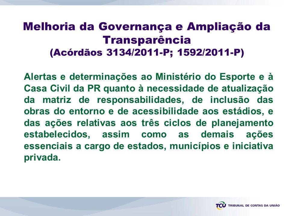 Melhoria da Governança e Ampliação da Transparência (Acórdãos 3134/2011-P; 1592/2011-P)
