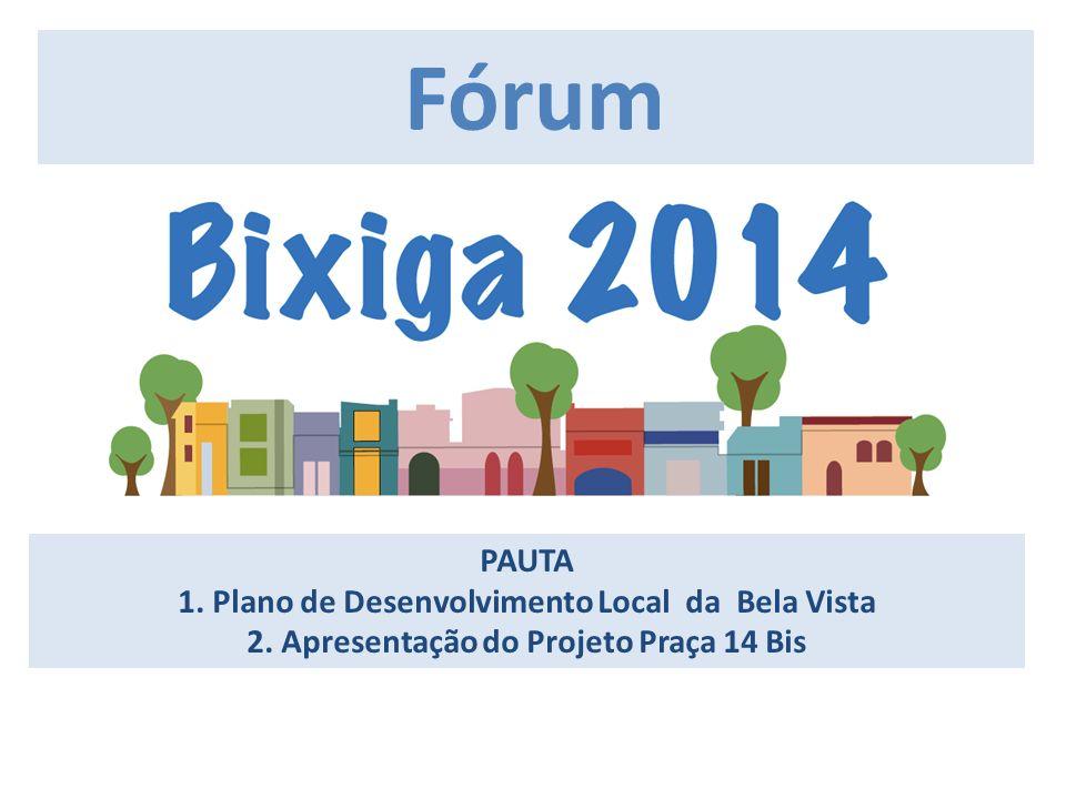 Fórum PAUTA 1. Plano de Desenvolvimento Local da Bela Vista 2. Apresentação do Projeto Praça 14 Bis.