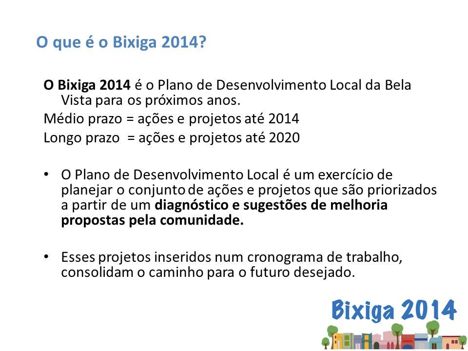 O que é o Bixiga 2014 O Bixiga 2014 é o Plano de Desenvolvimento Local da Bela Vista para os próximos anos.