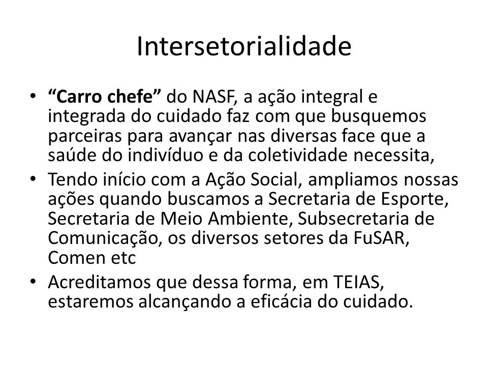 Intersetorialidade