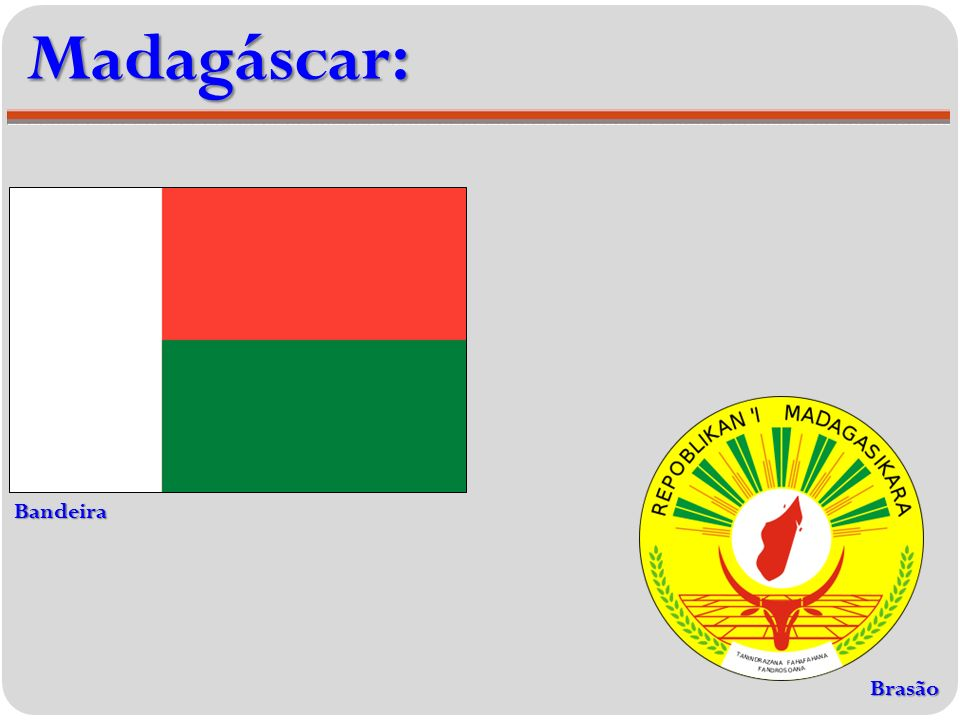 Madagáscar: Bandeira Brasão