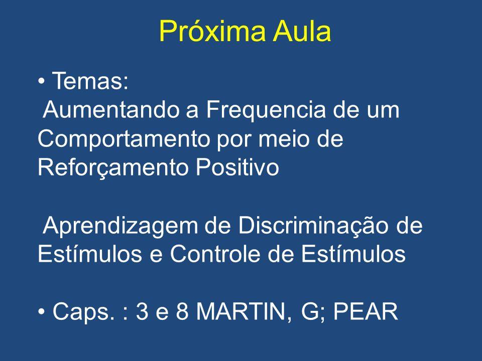 Próxima Aula Temas: Aumentando a Frequencia de um Comportamento por meio de Reforçamento Positivo.