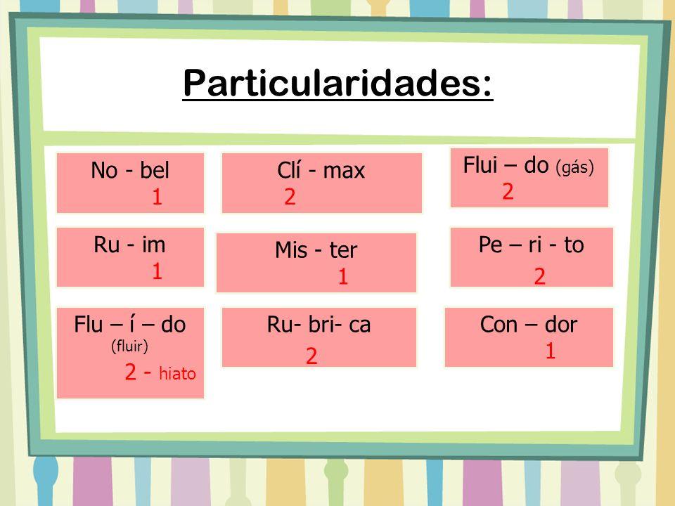 Particularidades: Flui – do (gás) No - bel Clí - max 2 1 2 Ru - im