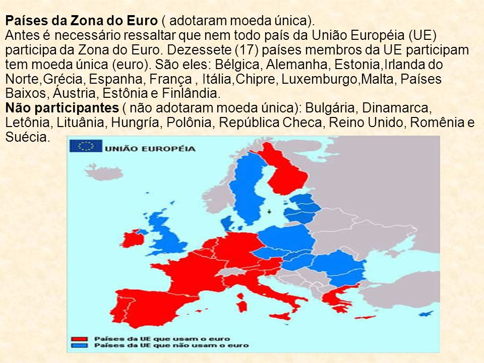 Países da Zona do Euro ( adotaram moeda única)