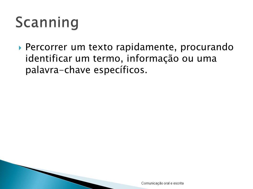 Scanning Percorrer um texto rapidamente, procurando identificar um termo, informação ou uma palavra-chave específicos.