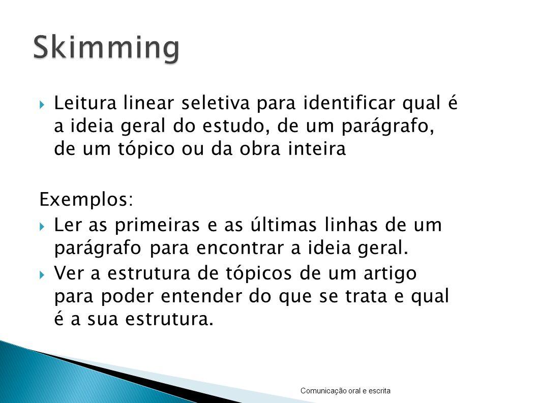 Skimming Leitura linear seletiva para identificar qual é a ideia geral do estudo, de um parágrafo, de um tópico ou da obra inteira.