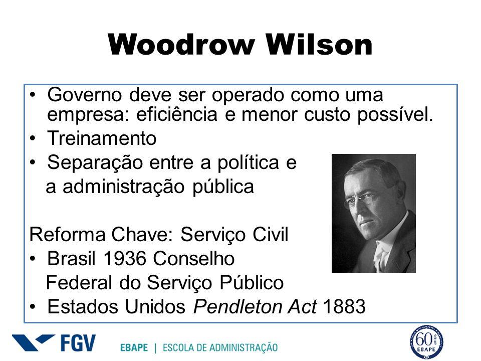 Woodrow Wilson Governo deve ser operado como uma empresa: eficiência e menor custo possível. Treinamento.