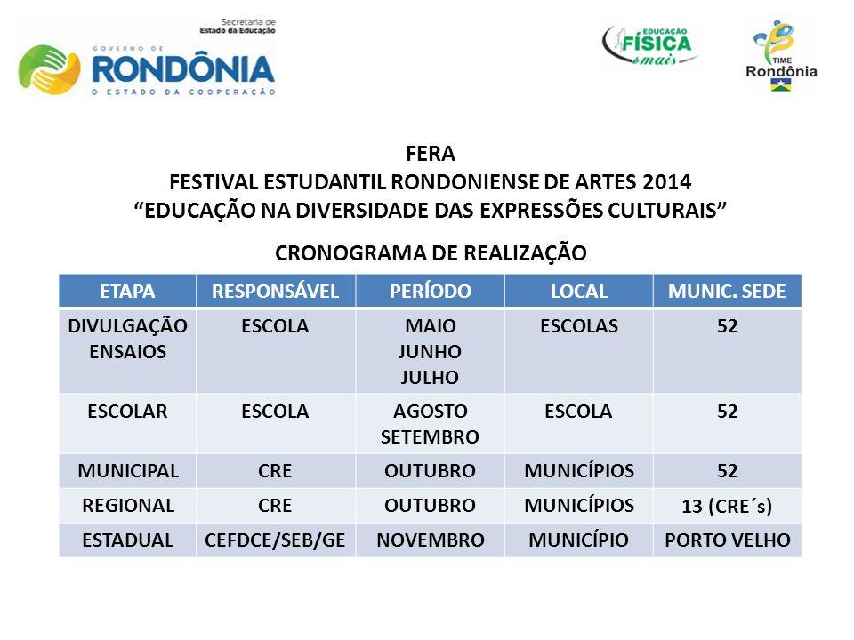 FERA FESTIVAL ESTUDANTIL RONDONIENSE DE ARTES 2014 EDUCAÇÃO NA DIVERSIDADE DAS EXPRESSÕES CULTURAIS CRONOGRAMA DE REALIZAÇÃO