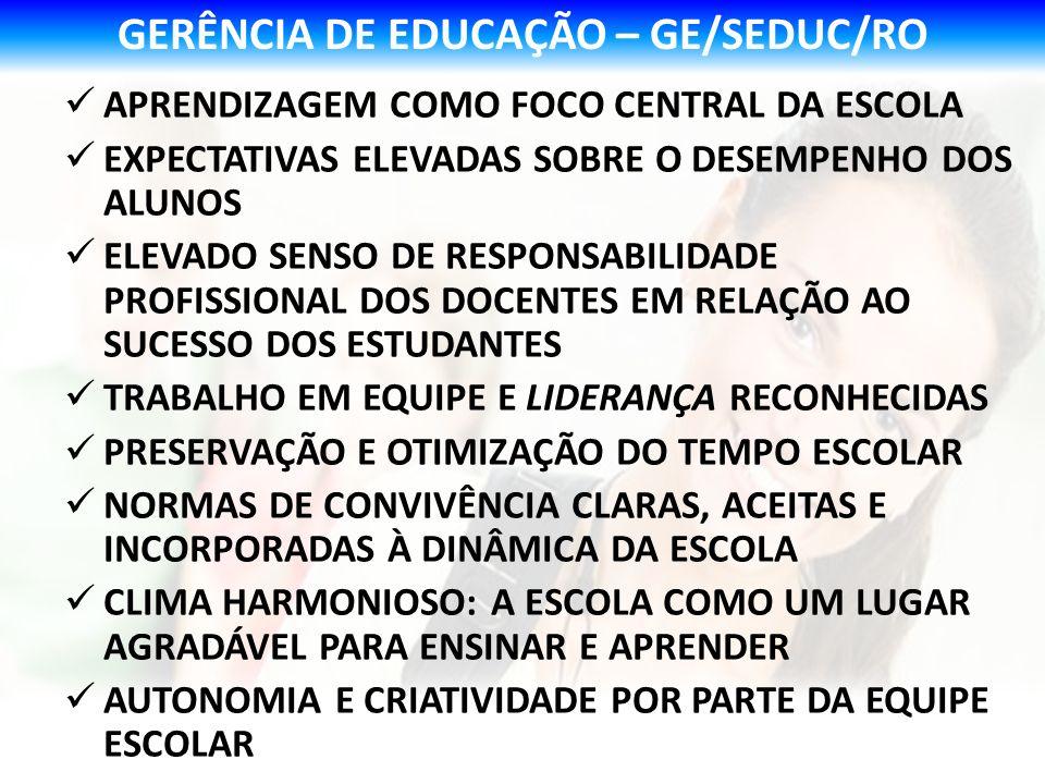 GERÊNCIA DE EDUCAÇÃO – GE/SEDUC/RO