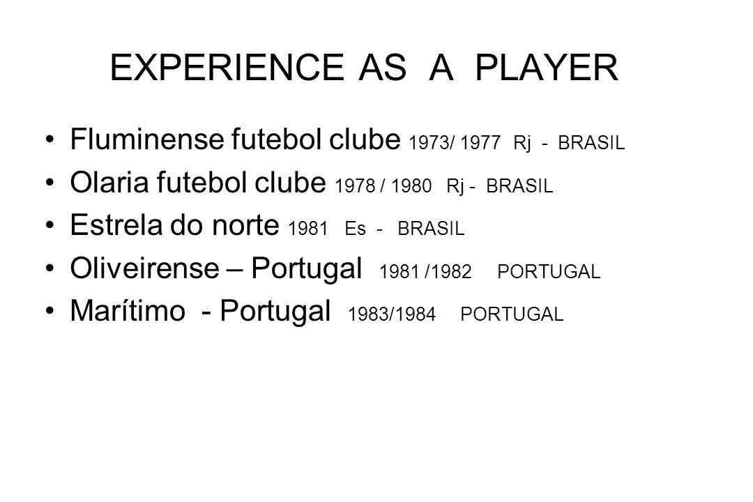 EXPERIENCE AS A PLAYER Fluminense futebol clube 1973/ 1977 Rj - BRASIL