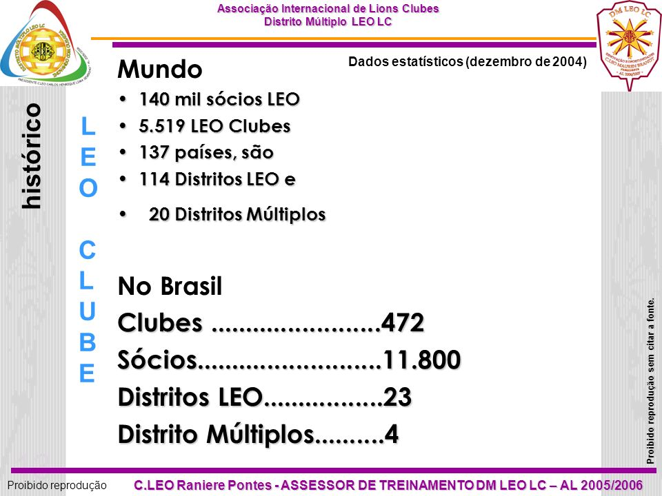 Mundo LEO histórico No Brasil CLUBE Clubes ........................472