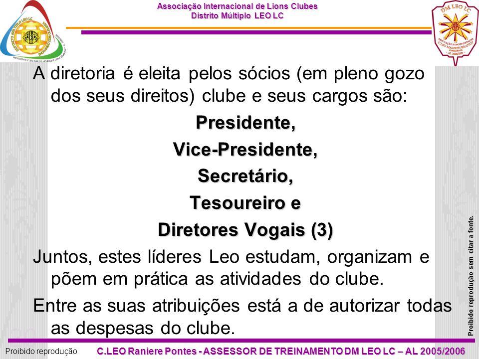 A diretoria é eleita pelos sócios (em pleno gozo dos seus direitos) clube e seus cargos são: