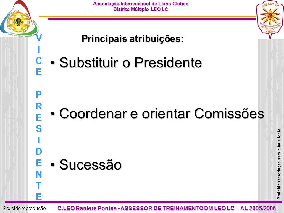 Principais atribuições:
